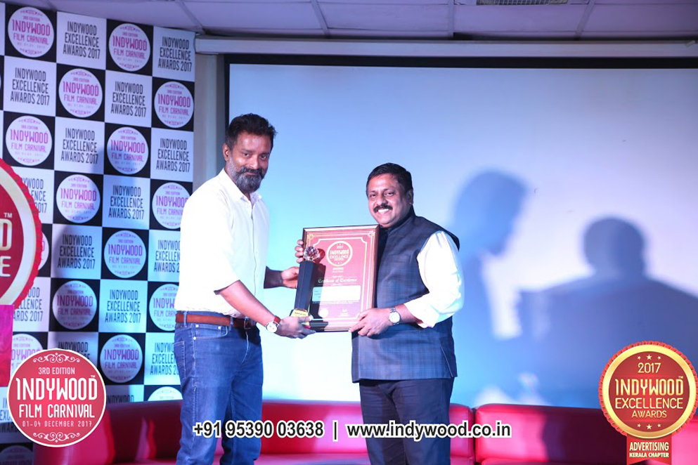Indywood Excellence Awards Distribution in Advertising kerala chapter 2017